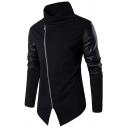 Elegant Men's Sweatshirt Patchwork PU Leather Zip Closure Long Sleeves Stand Collar Fitted Sweatshirt