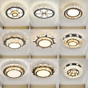 Round LED Ceiling Light Fixture Modern Clear Crystal Corridor Flushmount in Stainless Steel