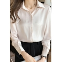 Work Womens Shirt Long Sleeve Spread Collar Button Up Regular Fit Shirt Top in Champagne