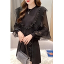 Stylish Shirt Solid Color Chiffon Bell Sleeve Crew Neck Lace Trim Loose Shirt for Women