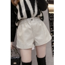 Girls Cool Shorts PU Leather Elastic Waist Wide-leg Plain Shorts
