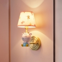 Sheep Shaped Resin Wall Lighting Cartoon Pink Wall Sconce with Tapered Fabric Shade