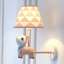 Sika Deer Childrens Bedroom Sconce Light Resin 1 Head Cartoon Wall Lamp with Tapered Fabric Shade in Pink