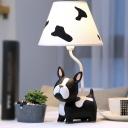 Black and White Bulldog Night Light Cartoon 1 Bulb Resin Table Lamp with Cone Fabric Shade