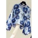 Fancy Women's Shirt Blouse Floral Pattern Long Puff Sleeves Mock Neck Regular Fitted Shirt Blouse