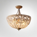 5-Light Crystal Beading Ceiling Mount Lamp Traditional Gold Dome Kitchen Semi Flush Light
