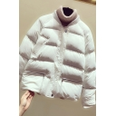 Trendy Women's Down Coat Solid Color Quilted Ribbed Trim Zip Placket Long Sleeves Relaxed Fit Down Coat