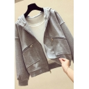 Leisure Women's Casual Jacket Solid Color Zip Placket Front Pocket Ribbed Trim Long Sleeves Hooded Sweatshirt