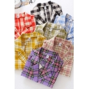 Fancy Women's Shirt Blouse Plaid Pattern Button Fly Notched Lapel Collar Short Sleeves Regular Fitted Shirt Blouse