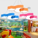 Kids LED Ceiling Lighting Moon and Cloud Shaped Flush Mount Lamp with Acrylic Shade