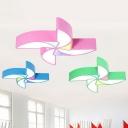 Cartoon LED Flush Mounted Light Fixture Colorful Pinwheel Ceiling Lamp with Acrylic Shade