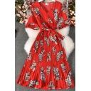 Fancy Women's A-Line Dress Floral Pattern Wrap Front Pleated Detail Tie Waist Half Flare Cuff Sleeve Midi A-Line Dress