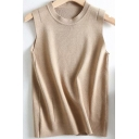 Basic Women's Knit Vest Solid Color Round Neck Sleeveless Regular Fitted Knit Vest