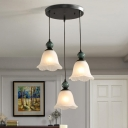 Ribbed Glass Flower Shade Hanging Light Traditional 3 Heads Dining Room Multi Light Pendant in Black