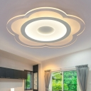 Simple LED Flush Ceiling Light Clear Floweret Flush Mounted Lamp with Acrylic Shade