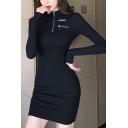 Women's Sexy High Neck Long Sleeve Zip Letter Black Mini Bodycon Dress