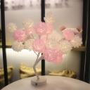 Tulle Rose Tree Nightstand Lamp Artistic USB Powered LED Table Light for Girls Room