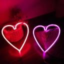 Loving Heart Wall Night Lamp Minimalist Plastic White Battery LED Festive Light for Room