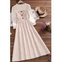 Elegant Womens Dress Button Up Corduroy Midi A-line Dress with Tee