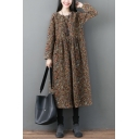 Tribal Style Women's Swing Dress Floral Pattern Round Neck Pleated Long-sleeved Relaxed Fit Midi Swing Dress