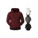 Trendy Men's Hoodie Quilted Kangaroo Pocket Contrast Trim Front Pocket Long Sleeves Regular Fitted Drawstring Hooded Sweatshirt