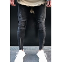 Men's Cool Fashion Knee Pleated Flap Pocket Front Zippered Cuffs Black Ripped Biker Jeans