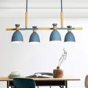 4-Head Dining Room Spotlight Macaron Wooden Island Pendant with Bell Metal Shade