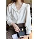 Simple Womens Shirt Blouson Sleeve Turn Down Collar Pearl Button Up Relaxed Shirt Top in White