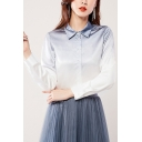 Trendy Womens Shirt Ombre Long Sleeve Point Collar Button Up Regular Fit Shirt Top in Blue-white