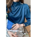 Stylish Womens Shirt Satin Long Sleeve Mock Neck Pleated Metal Button Regular Plain Shirt Top