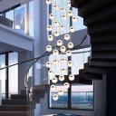 Crystal Cluster Ball Pendant Lighting Modernist Gold Finish Hanging Lamp for Dining Room
