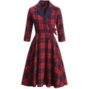 Gorgeous Ladies Dress Plaid Patterned Roll-up Sleeve Notched Collar Bow-tied Waist Midi A-line Pleated Dress in Red