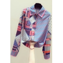 Unique Women's Shirt Polka Dot Graphic Pattern Contrast Panel Button Fly Point Collar Long Sleeves Regular Fitted Shirt