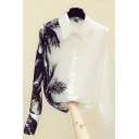 Leisure Women's Shirt Leaf Pattern Button Fly Point Collar Long Sleeves Regular Fitted Shirt