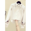 Fancy Women's Shirt Floral Embroidered Button Fly Button Closure Long Bishop Sleeve Regular Fitted Shirt