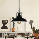 Pot Cover Metallic Pendant Light Antique 1-Light Restaurant Hanging Light Fixture