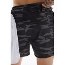 Training Mens Shorts Quick Dry Elastic Waist Camo Print Shorts