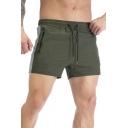 Basic Mens Shorts Quick Dry Drawstring Waist Solid Color Fit Shorts