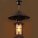 Coffee Cylindrical Ceiling Hanging Lantern Rural Clear Glass 1 Bulb Bistro Pendant with Conical Tip