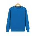 Guys Simple Solid Color Sweatshirt Long Sleeve Crew Neck Relaxed Pullover Sweatshirt