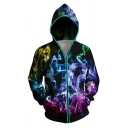 Designer Flame Wolf Colorful Smoke Digital Print Zip Up Photoelectric Hoodie