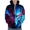 Stylish Men's Hoodie Wolf 3D Digital Pattern Front Pocket Long Sleeve Drawstring Hooded Sweatshirt