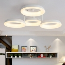 Acrylic Loop Shaped Semi Mount Lighting Simplicity White LED Close to Ceiling Light