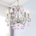 Crystal Beaded Candle Pendant Light Fixture Rustic 5-Head Bedroom Ceiling Chandelier