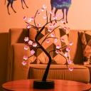 Plum Blossom Table Light Artistic Plastic Living Room Battery LED Nightstand Lamp in Black