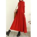Gorgeous Ladies Dress Solid Color Long Sleeve Mock Neck Maxi A-line Dress