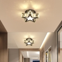 Minimalist LED Flush Ceiling Light Stainless Steel Small Flush Mount Lamp with Crystal Shade