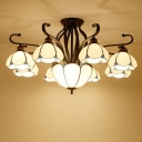 Bedroom Semi Flush Chandelier Tiffany Black Ceiling Light with Scalloped Cut Glass Shade