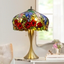 3-Light Rose Patterned Night Lamp Tiffany Gold Plated Cut Glass Table Light with Pull Chain