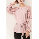 Trendy Ladies Blouse Plain Sheer Lace Patched Long Sleeve Crew Neck Tied Waist Relaxed Blouse Top